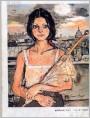 拿伞的少女(油画)